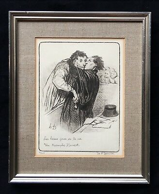 Antique Wall Art Daumier 1808 - 1879 Jours De La Vie Framed Lithograph 9/500