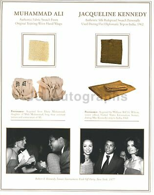 Muhammad Ali & Jacqueline Kennedy Dual Fabric Swatch Historical Relic Display