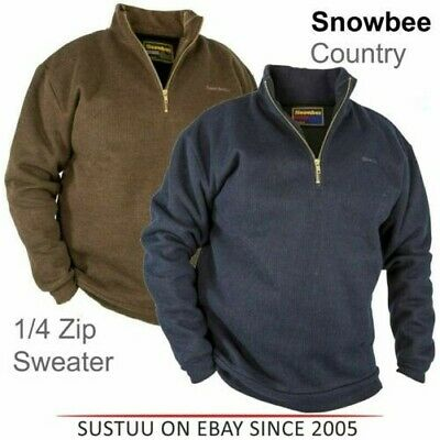 Snowbee Hombre País 1/4 Cremallera Impermeable/Transpirable Suéter │ Azul /