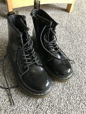 Boys Girls Dr Martens Air Black Patent Boots Uk Size 11 Kids New Shoes Lace Up