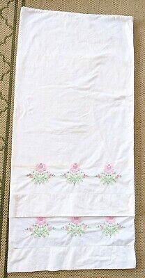 Vintage Handmade Pair Pink Floral Cross Stitched Cottage Pillowcases -Stained