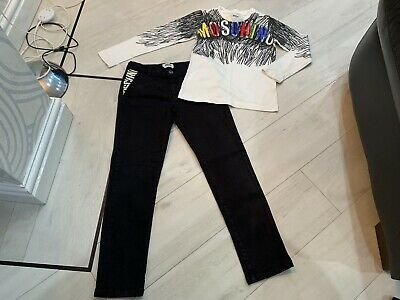 Boys Designer Moschino Outfit Top & Jeans/chinos Age 8 Years Vgc
