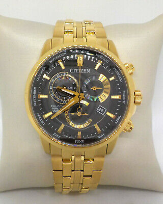 Citizen Eco-Drive Gold Tone 42 Mm Chronograph Mens Watch Bl8142-50E $575.00