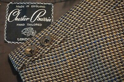 Chester Barrie Brown Blue Woven Plaid Sport Coat Jacket Sz 44R Made in England