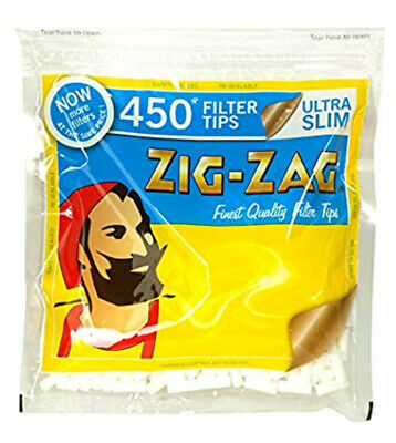450 x  Cigarette Filter Tips Ultra Slim Zig - Zag Re-sealable Bag
