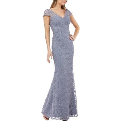JS Collections Womens Blue Illusion Trumpet Evening Dress Gown 6 BHFO 0292
