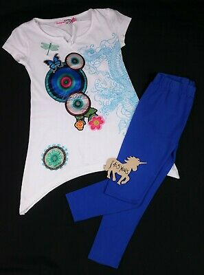 Girls Clothes DESIGUAL T-Shirt Dress & TU Leggings Outfit 4-5 Years VGC Com Post