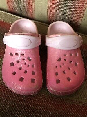 Girls Cloggs Crocs Sandals Infant UK8 - 9 Glitter Pink Mothercare Beach Shoes