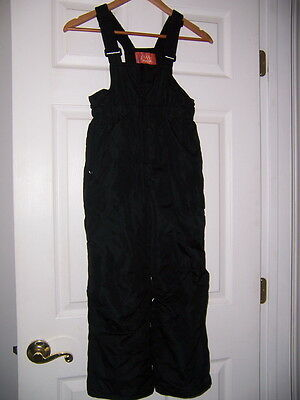 "Pulse youth childs kids insulated snow ski bib Pants L black 2"" grow seam Winter"
