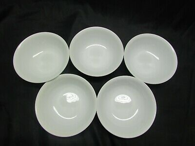 Set of 5 Corelle (Corning Ware) Winter White Frost Cereal / Soup Bowls