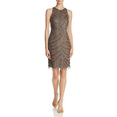 Adrianna Papell Womens Gray Embellished Knee-Length Cocktail Dress 8 BHFO 7380