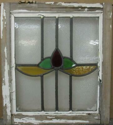"OLD ENGLISH LEADED STAINED GLASS WINDOW Cute Abstract Sweep 16.25"" x 18.25"""
