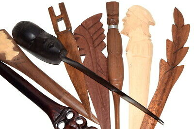Lot of Eight Vintage HAND CARVED WOODEN SOUVENIR Letter Openers