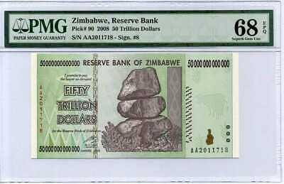 Zimbabwe 50 Trillion Dollars 2008 P 90 Superb Gem Unc Pmg 68 Epq High