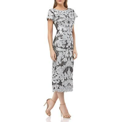 JS Collections Womens Gray Soutache Boatneck Evening Midi Dress 14 BHFO 1336
