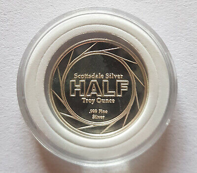 1/2 Half Troy Oz Scottsdale Silver .999 Fine Silver Coin Capsule INCLUDED