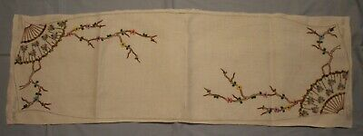 Vintage Unfinished Embroidered Floral Table Runner