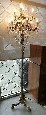 Vintage Brass and Crystal Floor Lamp Lady with an Urn Detail Chandelier Style