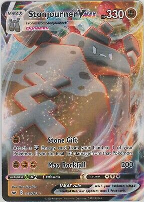 Pokemon TCG Sword and Shield 116/202 Stonjourner VMAX Holographic Rare Card
