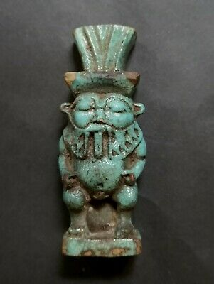 God Bes Glazed Blue Faience Statuette