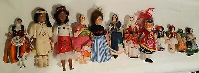 Set Of 12 Small Dolls Vintage From Around The World