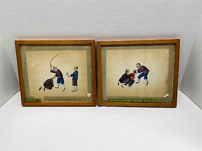 Antique Ca. 1800's Chinese Artwork Torture On Rice Paper