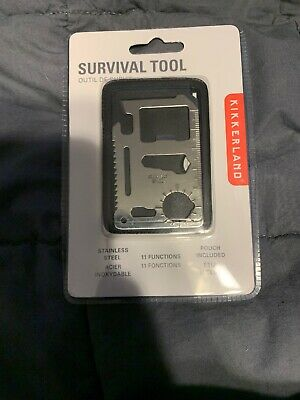 Kikkerland Classic Stainless Steel Survival Tool Pocket 11 functions pouch