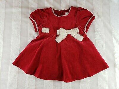 Baby Girl TCP Valentines Day Red Velvet White Bow Dress Bloomers Set 3 6 Mo NWT
