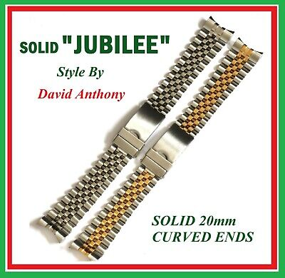 CHOICE - 20mm SOLID, CURVED ENDS, For JUBILEE LINK WATCH BRACELET, GREAT QUALITY