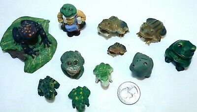 1970's 80's Lot of 11 Small Frog Toad Figurines Variety