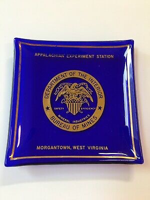 VTG Cobalt Blue Gold Houze Art Glass Ashtray Morgantown Bureau Mines Appalachian