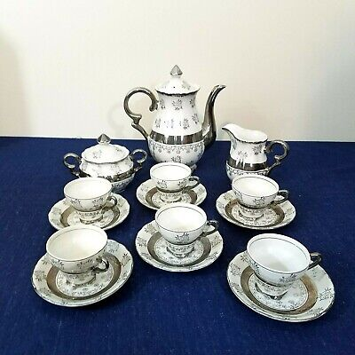 17 Piece Sterling China Japan Tea Set Silver Flowers Leaves
