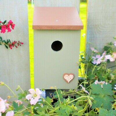Green wooden bird house / nesting box with floral heart detail and lid