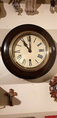 Antique 8 day 7 inch dial wall clock not fusee