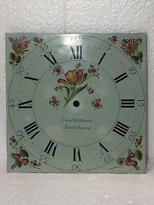 Vintage Long Case Grandfather Clock's Dial In Light Green & Flowered
