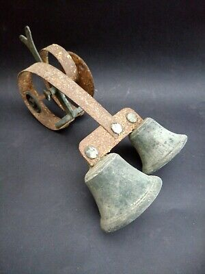 Antique Double Door Bell Sprung Double Ringer Brass Bronze Servants Original Old
