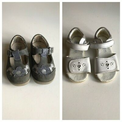 2 x Pairs Clarks First Steps Shoes Sandals Girls Toddlers Leather UK 5 /5.5G 22