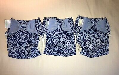 Bum Genius lot 3 One Size Cloth Pocket Diapers Chelsea Perry design blue swirl