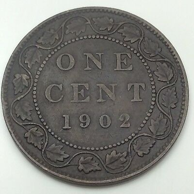 1902 Canada Large Penny 1 One Cent Canadian Circulated Coin D424