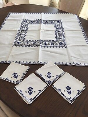 """Vintage Luncheon Set Of 33""""Sq Tablecloth W/4-11"""" Napkins Cross Stitch"""