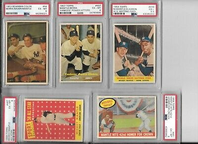 Mickey Mantle Card Run (1953-1969) - 27- All Psa With Wooden Storage Chest