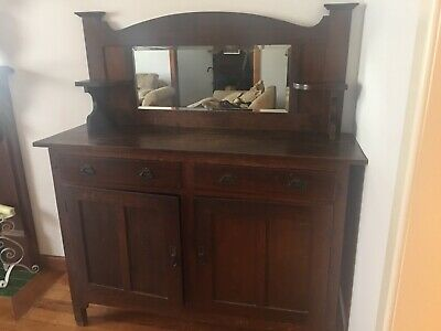 Antique Sideboard - dark wood - 2 cupboards, 2 drawers with mirror