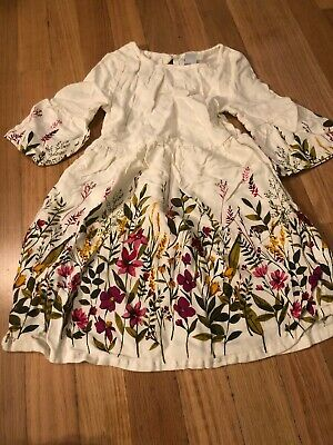 Old Navy Infant Girls White Green Pink Floral Dress Size 5t