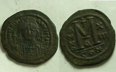 Justinian I Constantinople 527-565 AD large follis Original Byzantine coin Cross