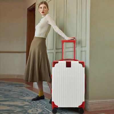 28'' Luggage Travel Set Bag ABS Trolley 360° Spinner Carry On Suitcase White-red