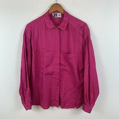 Vintage Sportscraft Womens Blouse Top Size 16 Pink Fuchsia Long Sleeve Button Up