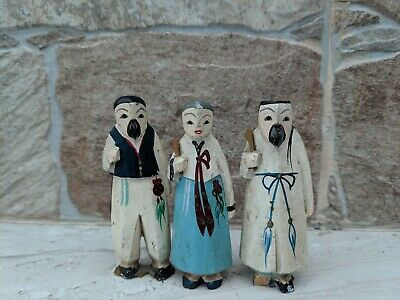 Three Rare Small wooden Antique Asian Carved Figurines Statues 3'' hand painted.