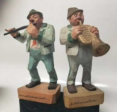 "2 Vintage Hand Carved Wood Band Figurines Gerany - 5"" Tall"