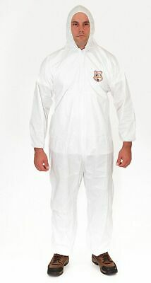 Hooded Disposable Coveralls with Elastic Cuff, MicroGuard MP® Material, White, L