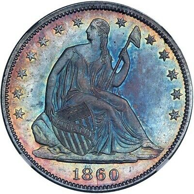 1860 Seated Half Dollar NGC MS62 CAC! Monster Toned Rainbows! Best I've Seen!